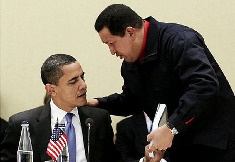 Former Venezuelan President Hugo Chavez gifts a copy of Eduardo Galeano's 'Open Veins of Latin America' to the then President of United States of America, Obama