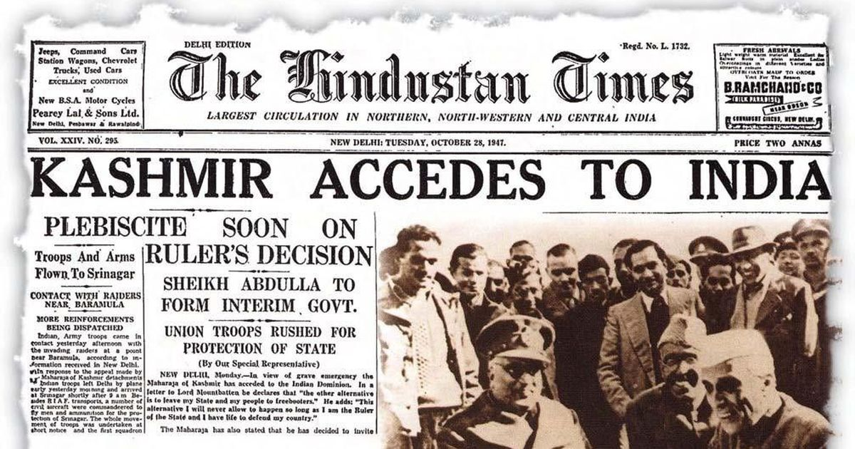 The Hindustan Times reporting Kashmir accession to India