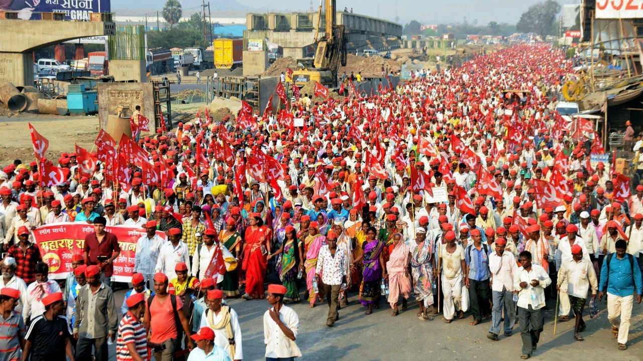 Massive march by Indian Farmers under the leadership of Communists in India